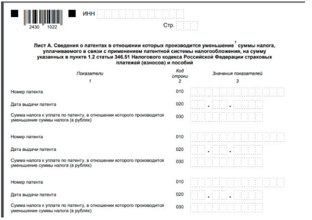 Титульный лист УСН на патенте